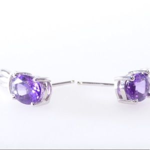 Jewelry - *Preloved Solid 10K Amethyst and Diamond Earrings